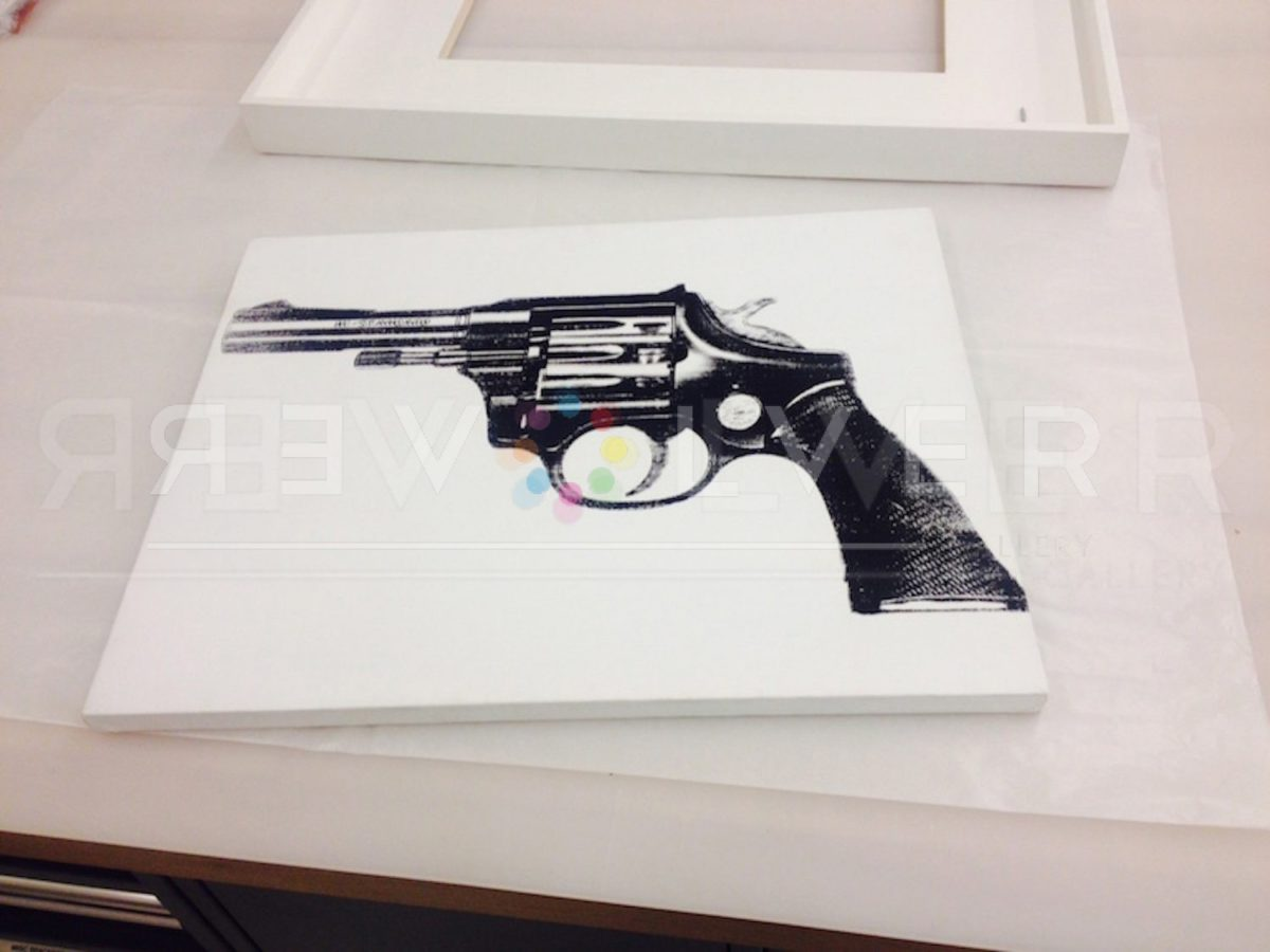 Andy Warhol Gun painting canvas out of frame.