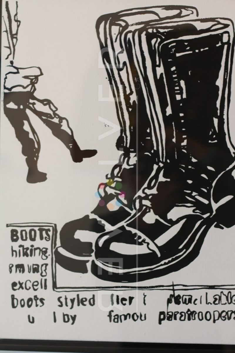 Paratrooper Boots (positive) screenprint by Andy Warhol, with Revolver gallery watermark.