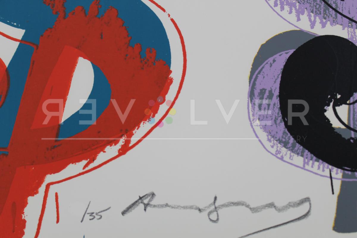Close up of Warhol's signature on the Dollar Sign (9) 286 screenprint.
