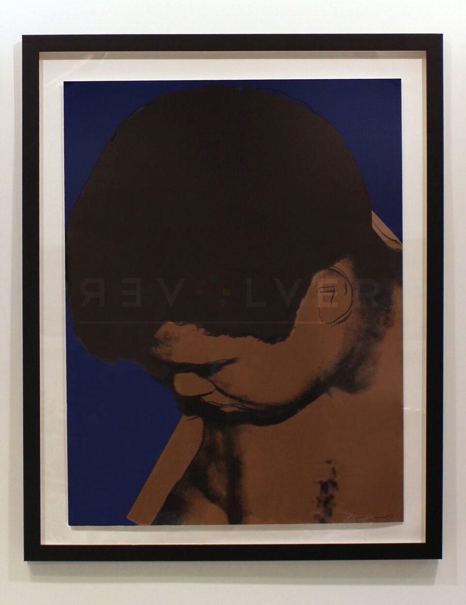 Andy Warhol Muhammad Ali 180 framed on the wall.