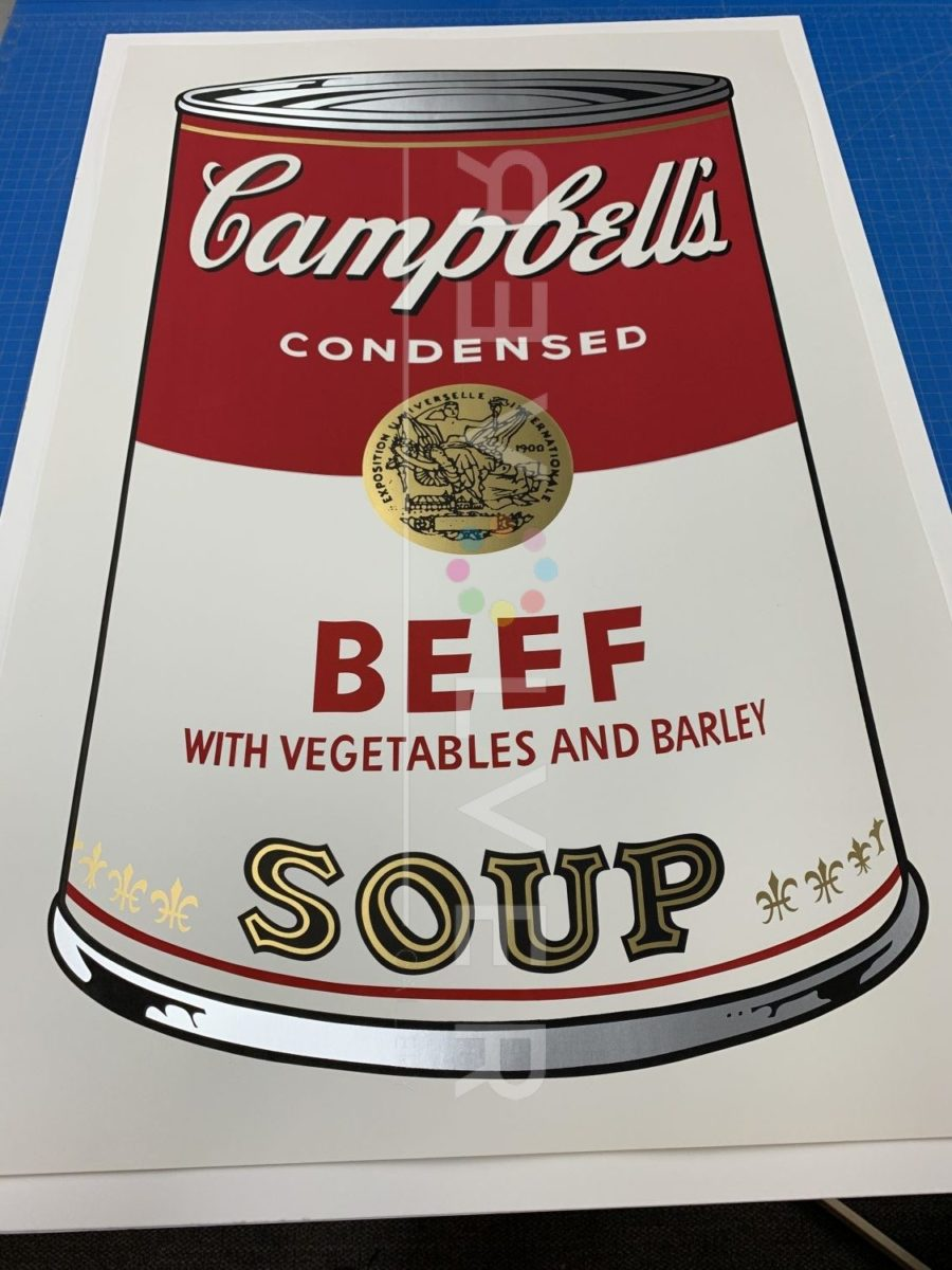 Andy Warhol Campbell's Soup I: Beef 49 screenprint out of frame.