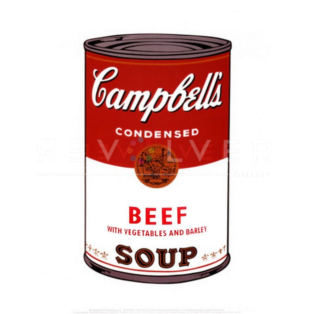 """One of Ten Campbell's Soup Cans by Andy Warhol from 1968. Red and white soup can labeled """"Beef with Vegetables and Barley."""""""