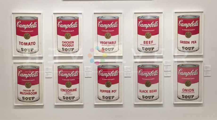 All ten prints from the Campbell's Soup I complete portfolio framed and hanging on the wall.