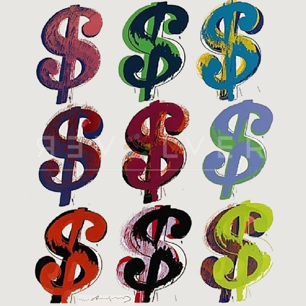 Dollar Sign (9) 286 by Andy Warhol. 9 Dollar Signs on white background.
