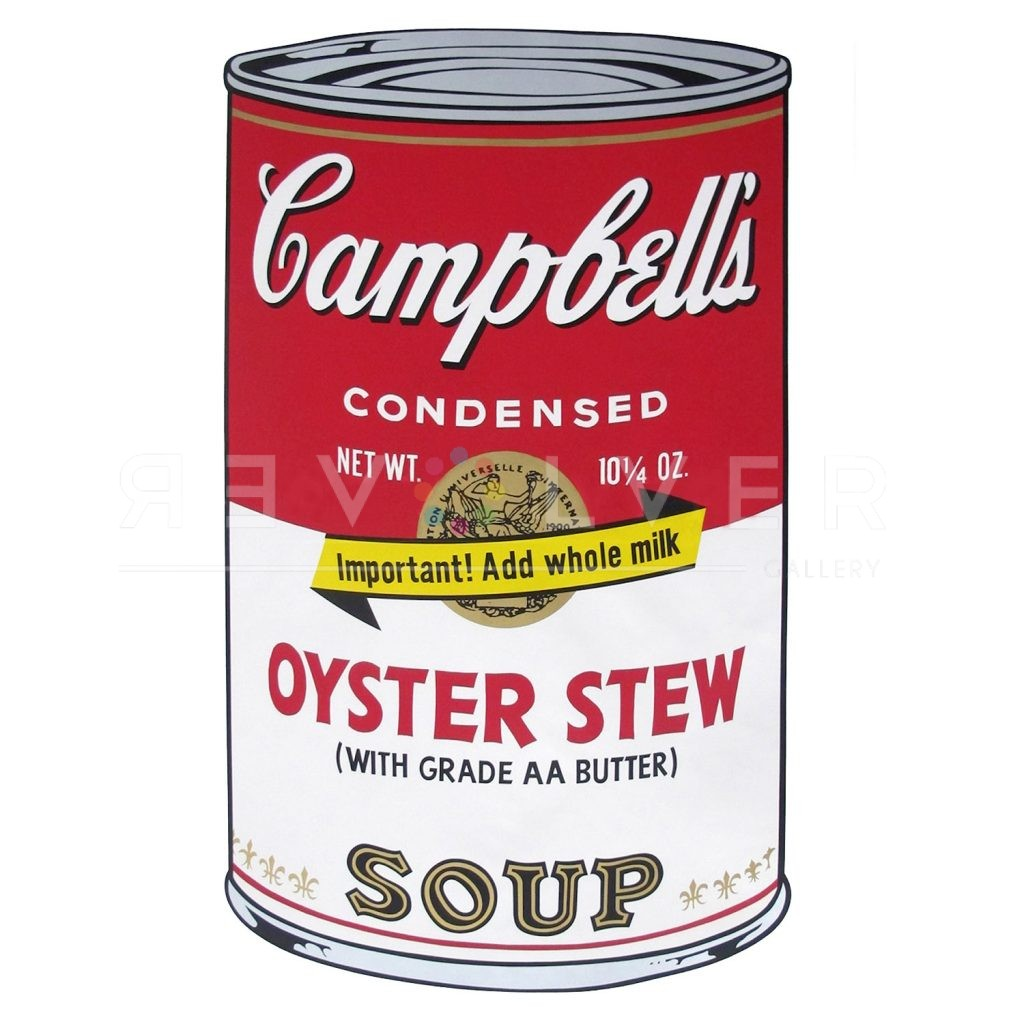 """One of Ten Campbell's Soup Cans by Andy Warhol from 1969. Red and white soup can labeled Oyster Stew with banner reading """"Important! Add whole milk!"""""""