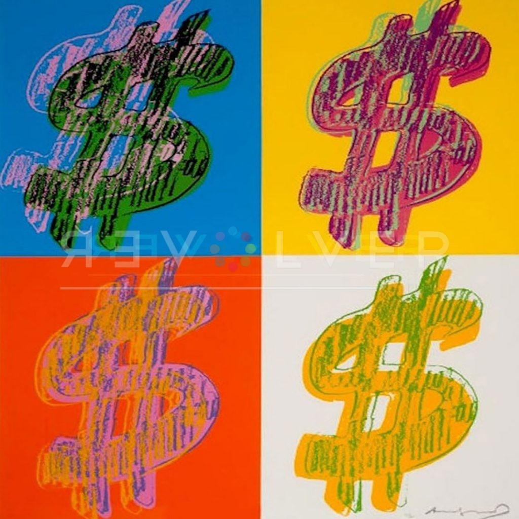 Stock image of Dollar Sign (Quadrant) 284 by Andy Warhol, 4 bright dollar signs in different colors.