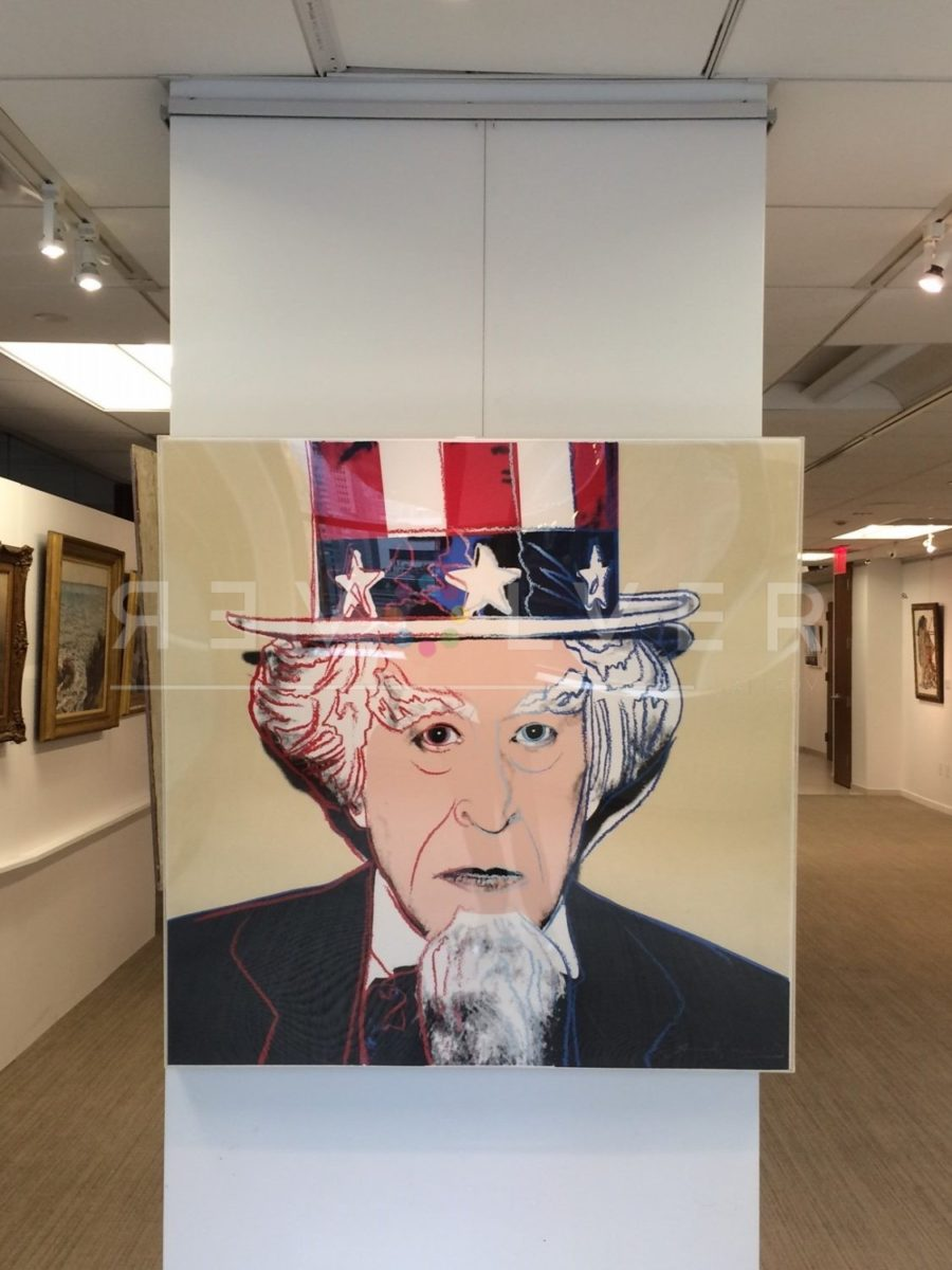 Andy Warhol Uncle Sam 259 framed and hanging on the wall.