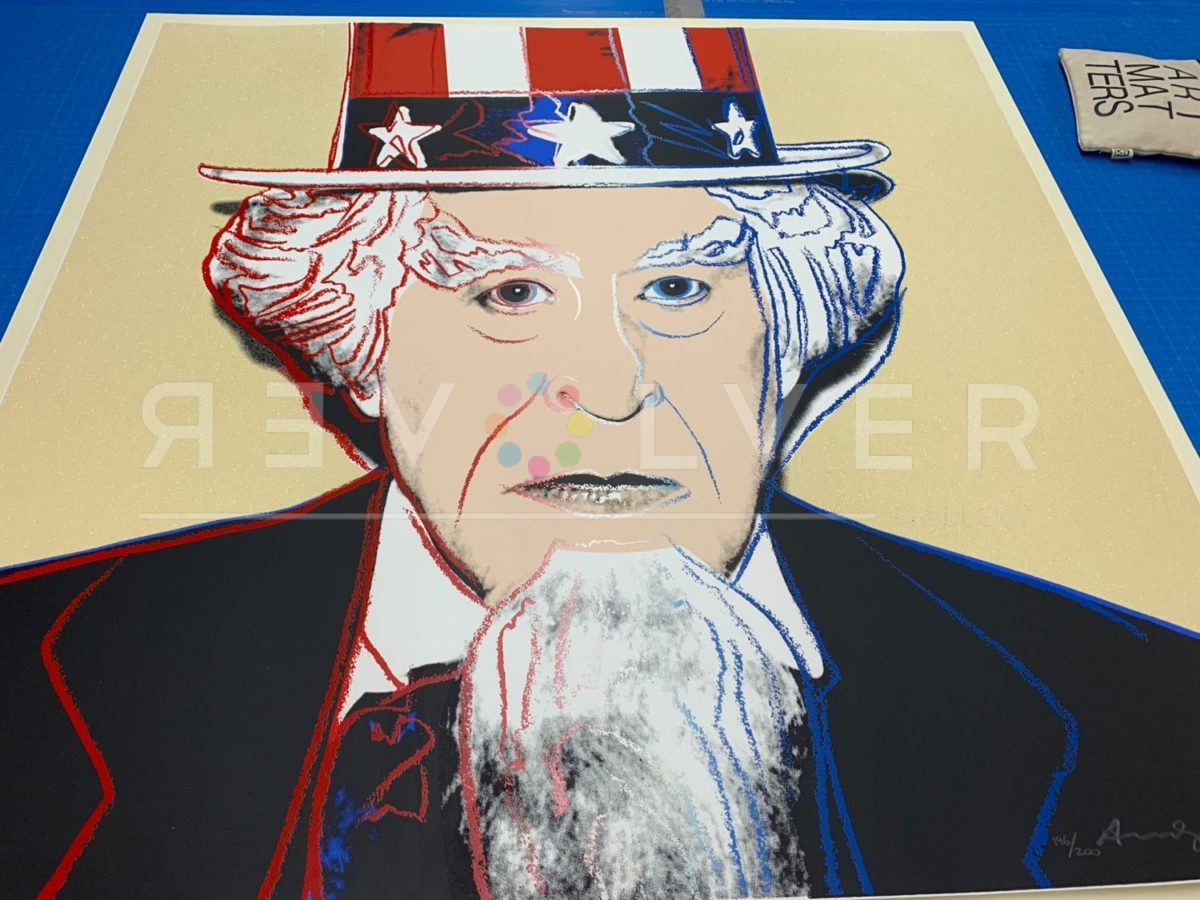 Andy Warhol Uncle Sam 259 screenprint out of frame.