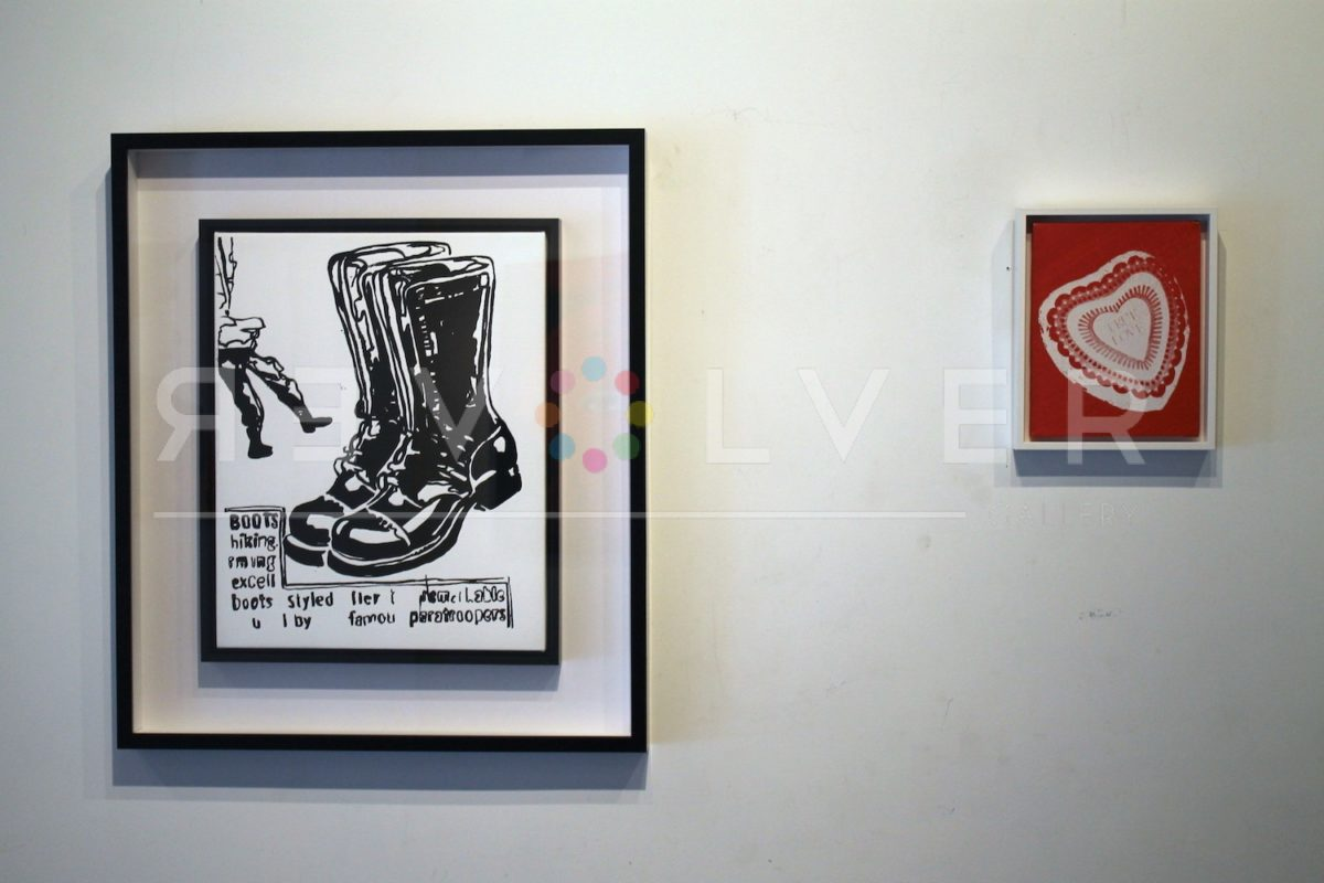 Andy Warhol's Candy Box screenprint hanging on the wall next to paratrooper boots print.