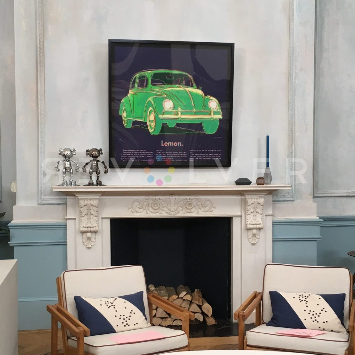Interior design sample image showing Andy Warhol's Volkswagen 358 screenprint hanging on the wall for size comparison.