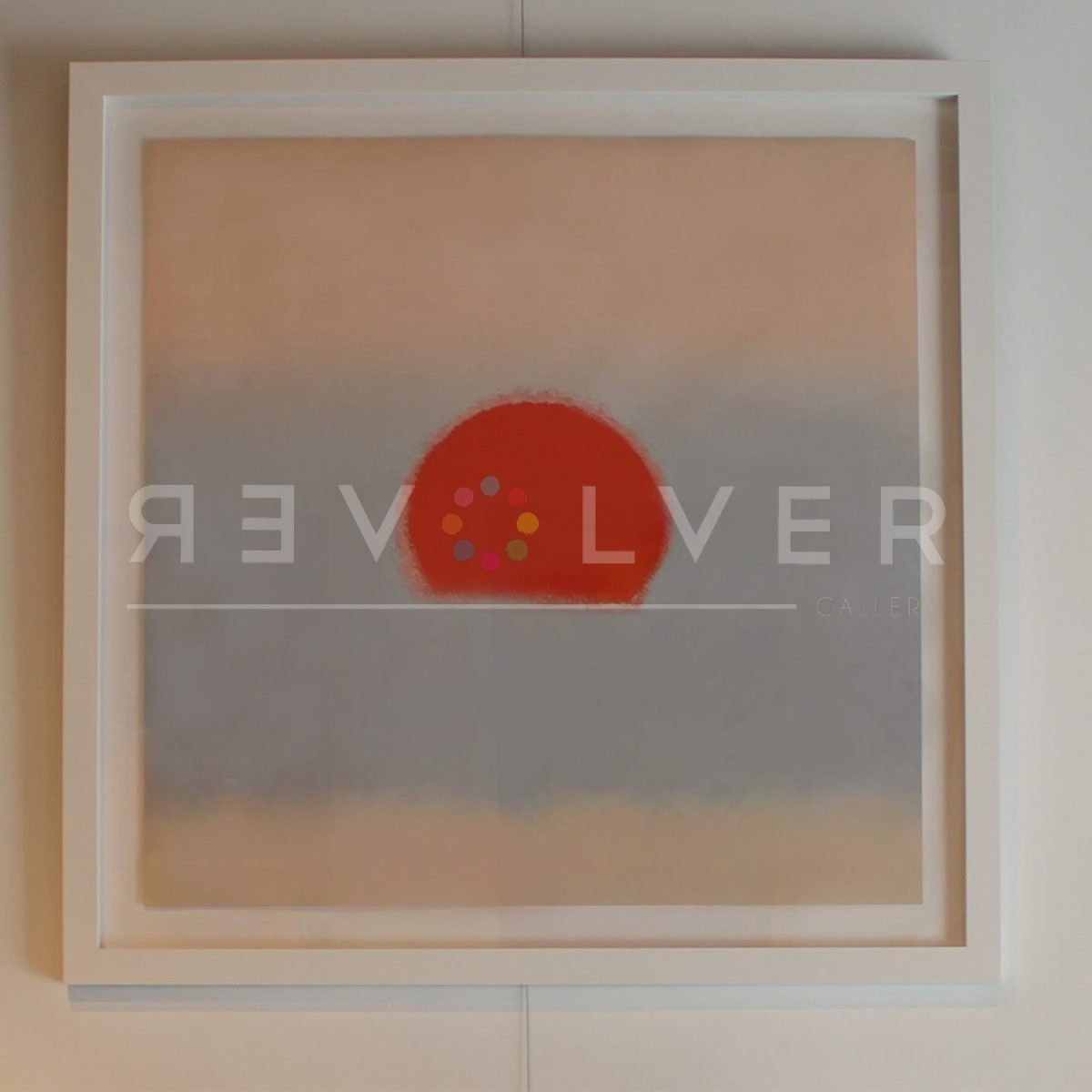 Andy Warhol Sunset (Blood Orange) in frame hanging on the gallery wall.