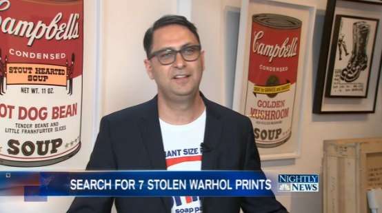 Ron Rivlin interviewed by NBC Nightly News on stolen Warhol Soup Cans