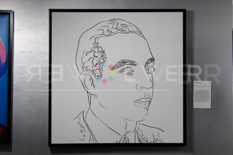 Andy Warhol Vincent Minnelli drawing framed and hanging on the gallery wall.