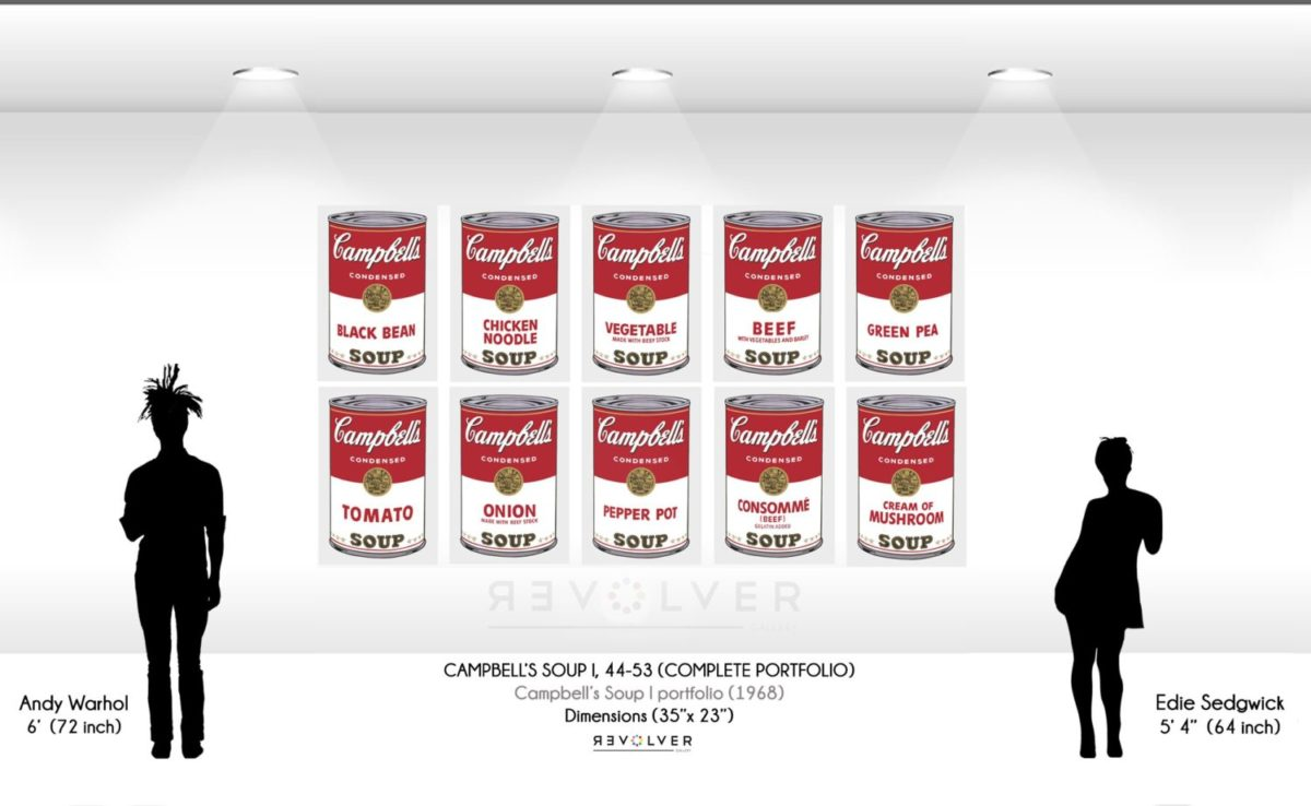 Size comparison image of the Campbell's Soup I complete portfolio, showing the relative size of the prints (35 inches by 23 inches) compared to silhouettes of Andy Warhol and Edie Sedgewick.