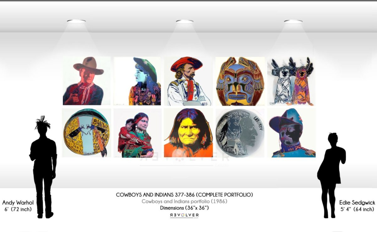 Size comparison image for the cowboys and indians complete portfolio showing the relative size each print in relation to Andy Warhol and Edie Sedgewick silhouettes. Each print is 36 inches by 36 inches.