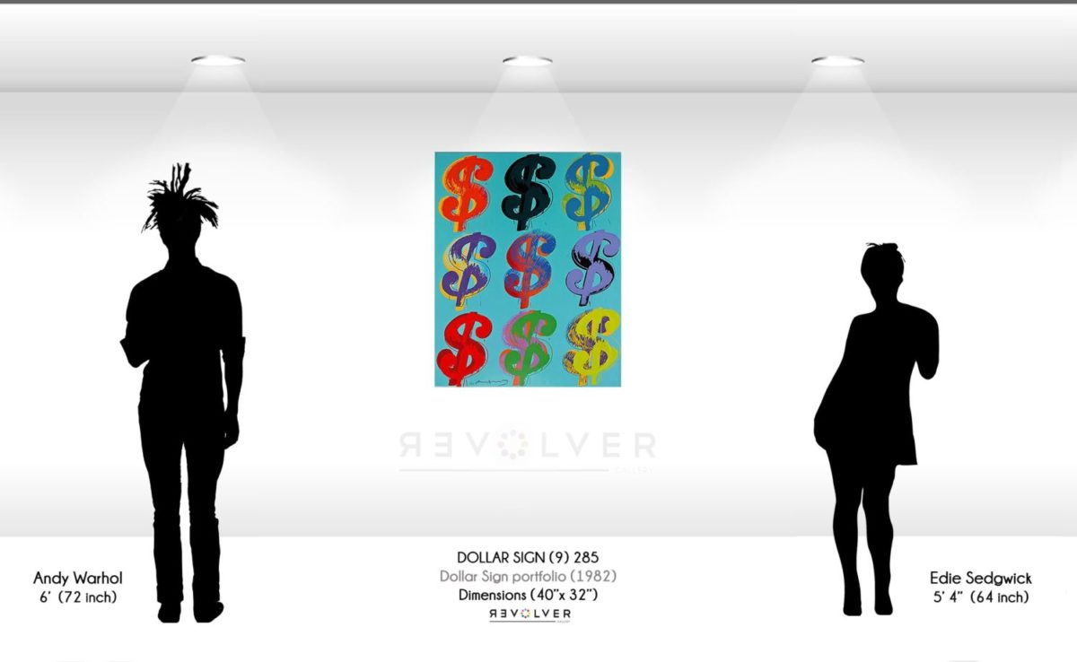 Size comparison image for Andy Warhol Dollar sign 285, showing the size of the print to be 40 by 32 inches.
