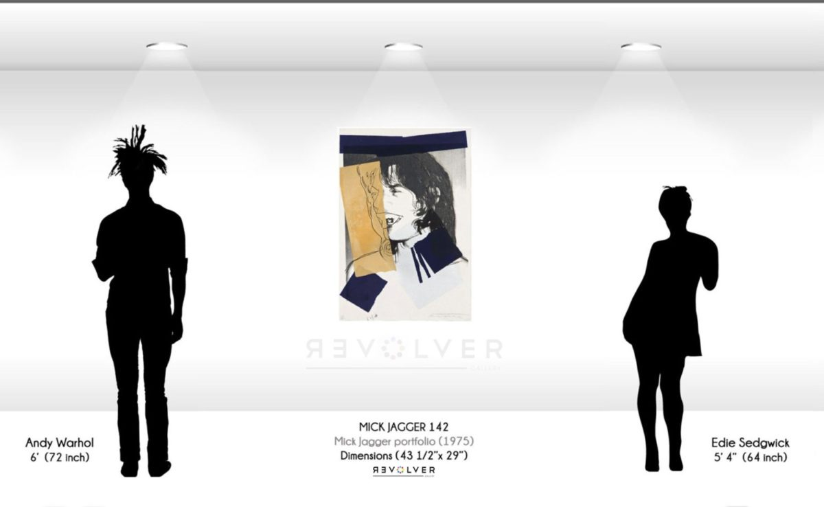Size comparison photo for Mick Jagger 142 showing that the screenprint is 43 and one half inches by 29 inches.