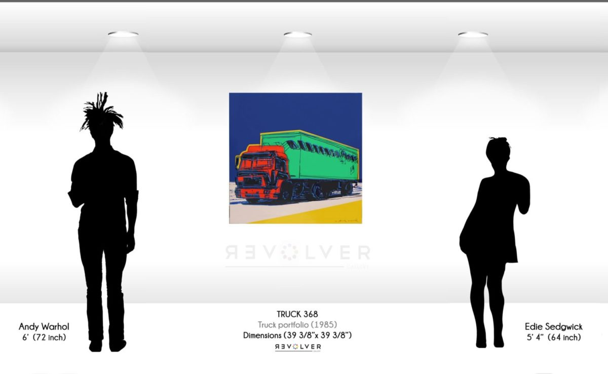Size comparison image for Truck 368, showing the size of the print to be 39 and 3/8th inches by 39 and 3/8th inches.