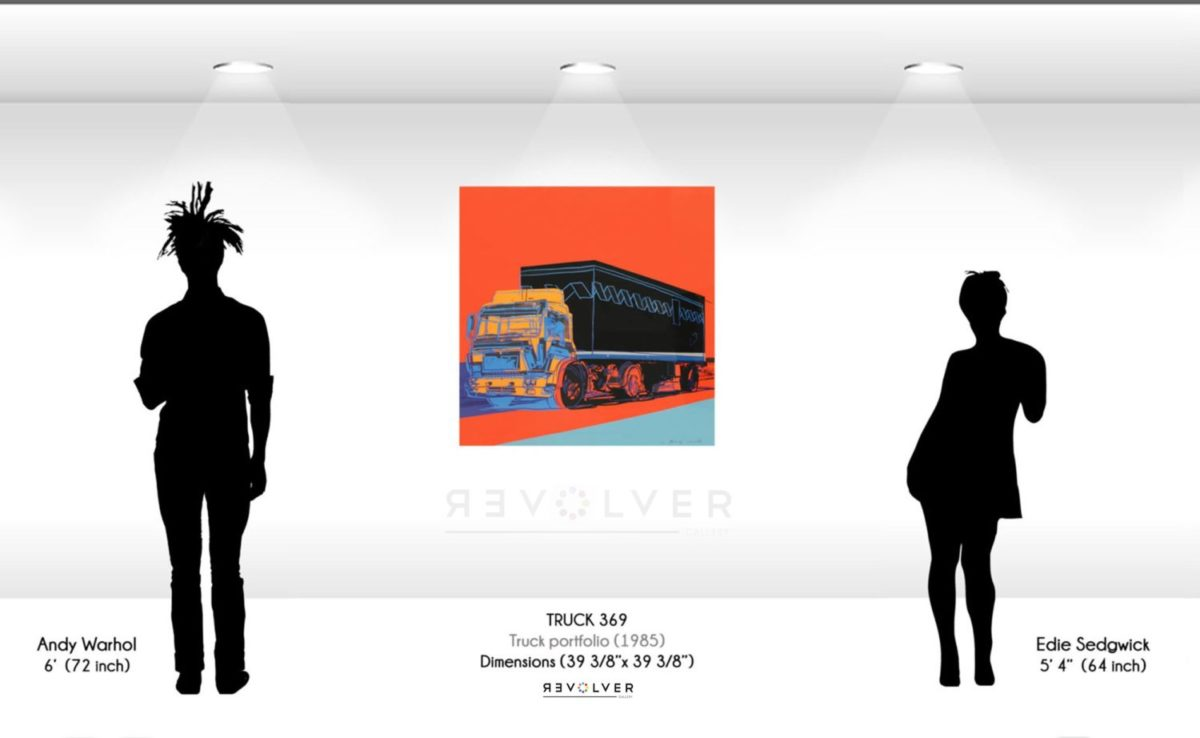 Size comparison image for Truck 369, showing the size of the print to be 39 and 5/8ths inches by 39 and 5/8ths inches.