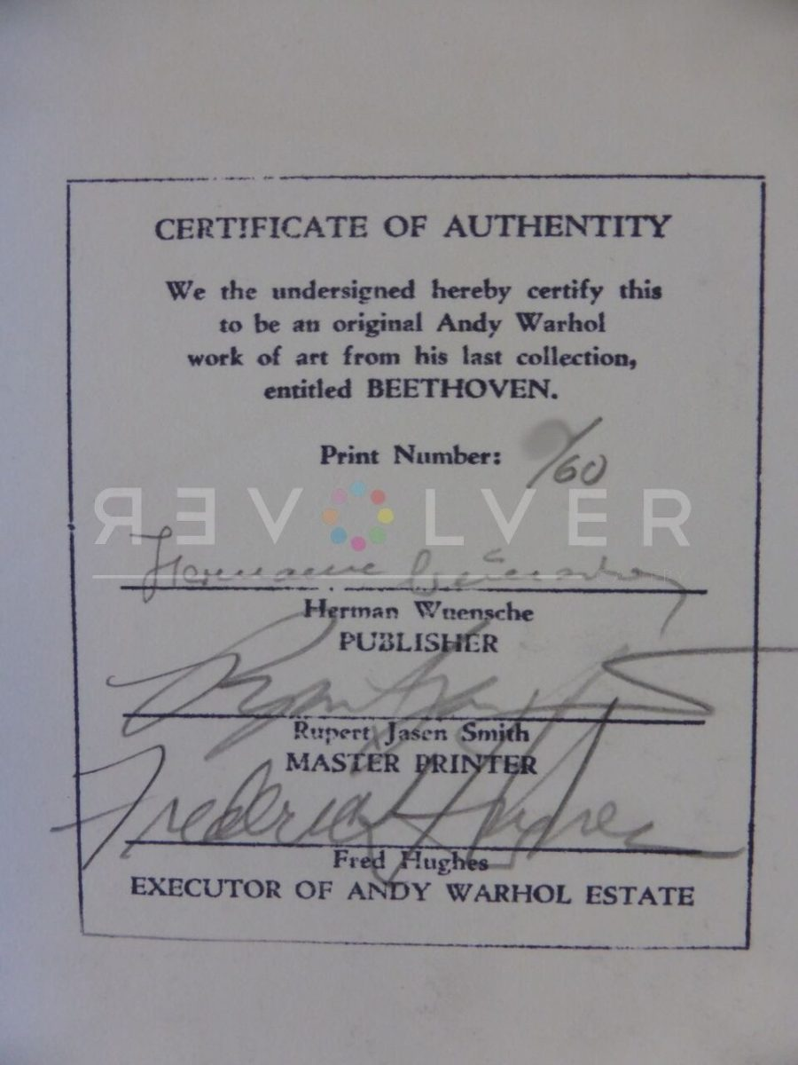 Shows the certificate of authenticity with publisher's signature, printer's signature, and the executor of the Warhol Estate.