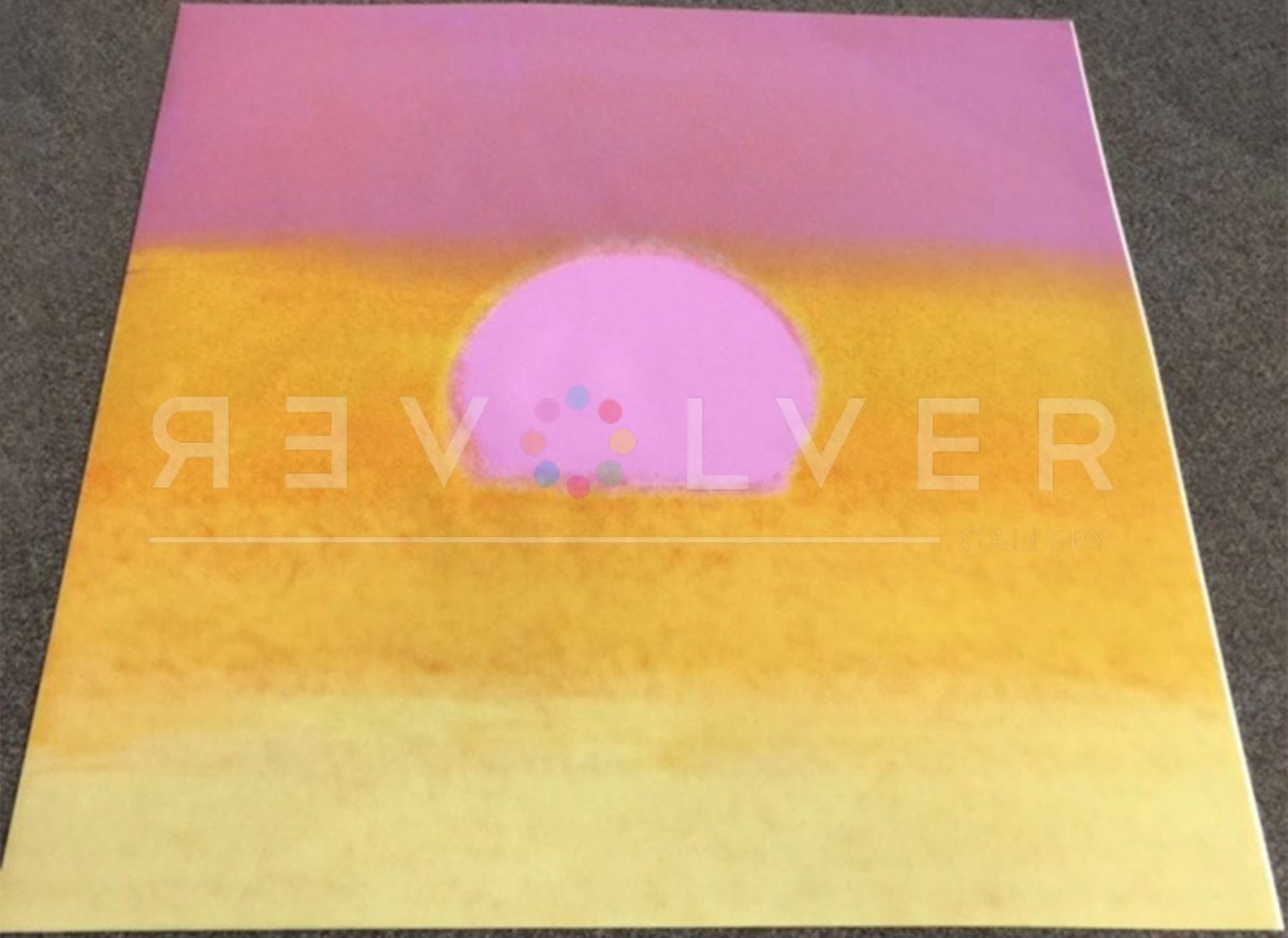 Andy Warhol Sunset (Pink/Yellow) screenprint out of frame with Revolver Gallery's watermark.