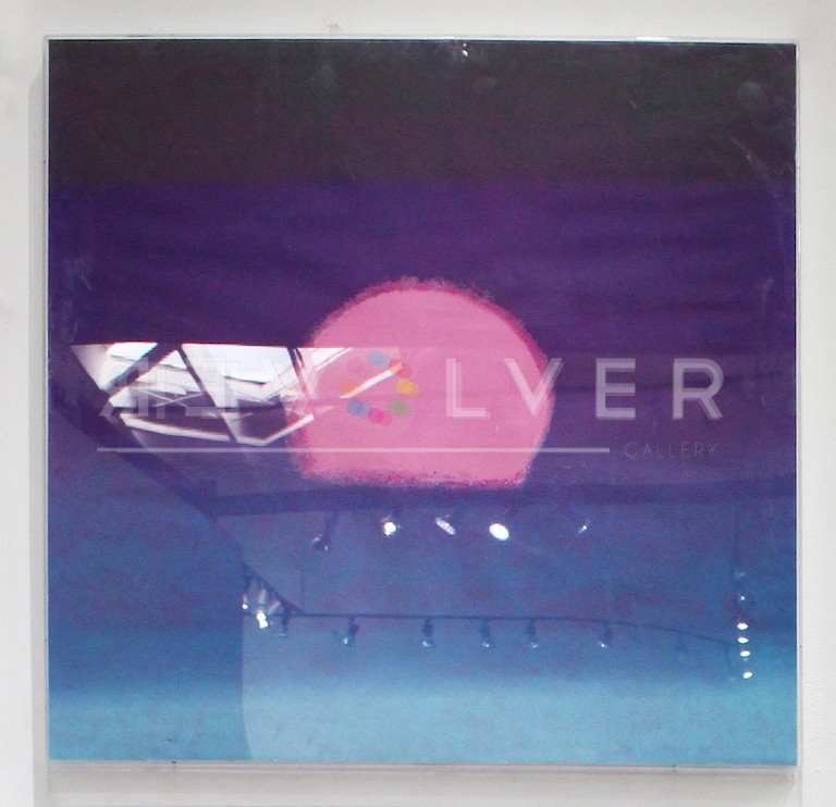 Andy Warhol Sunset (Purple/Blue) screenprint in frame on the gallery wall with Revolver watermark.