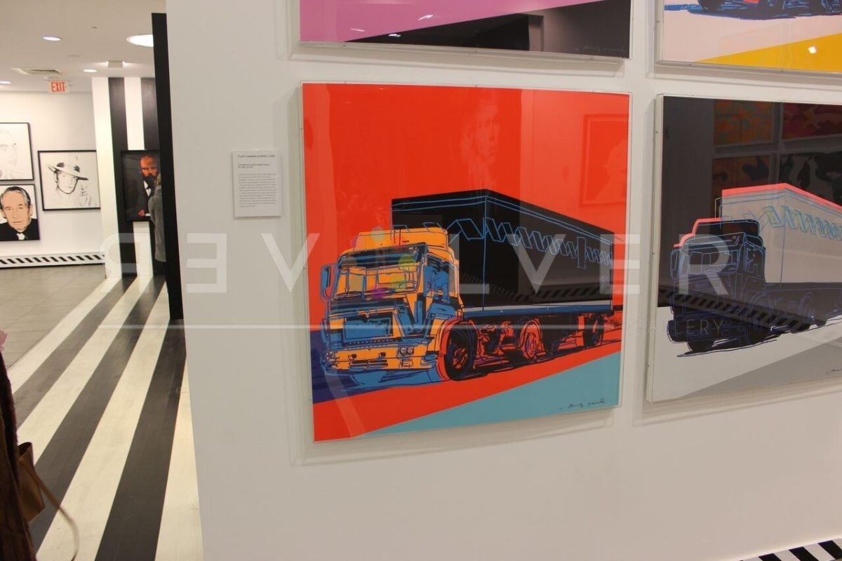 Truck 369 screenprint framed and hanging on the wall. Image has revolver gallery watermark.