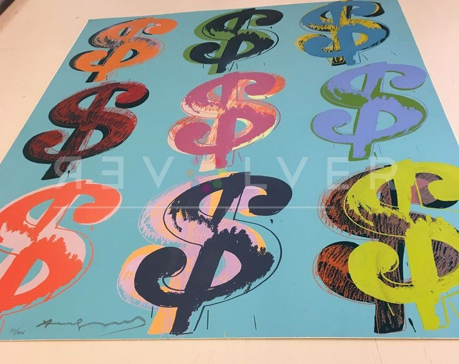 The Dollar Sign (9) 286 screenprint out of frame laying flat on a table.
