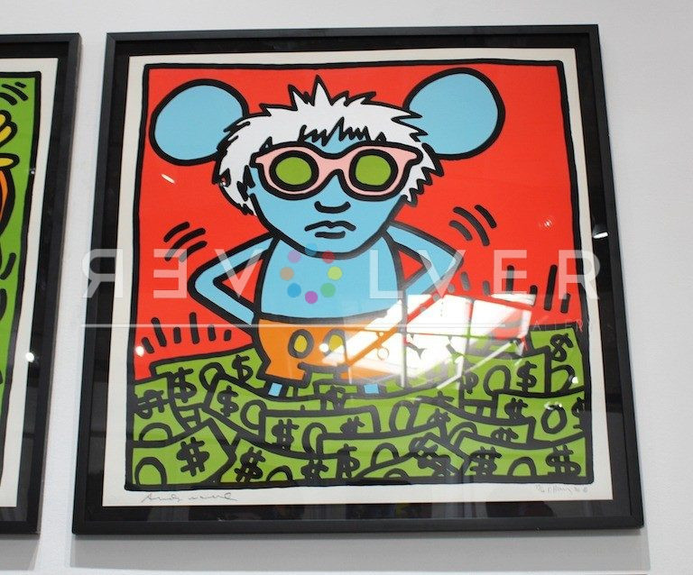 Andy Mouse by Keith Haring, signed print hanging on the gallery wall.