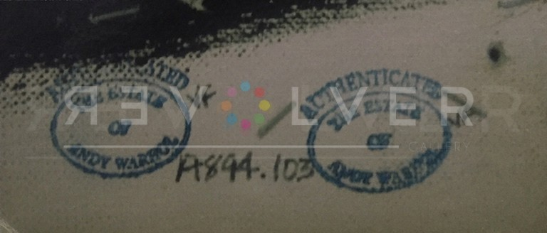 Authentication stamp by the Andy Warhol Foundation on the back of Triple Dollar Sign.