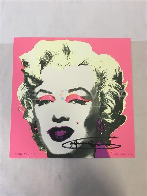 """Picture of Signature, Marilyn Invitation 12"""" x 12"""", 1981, pink and yellow out of frame, by Andy Warhol."""