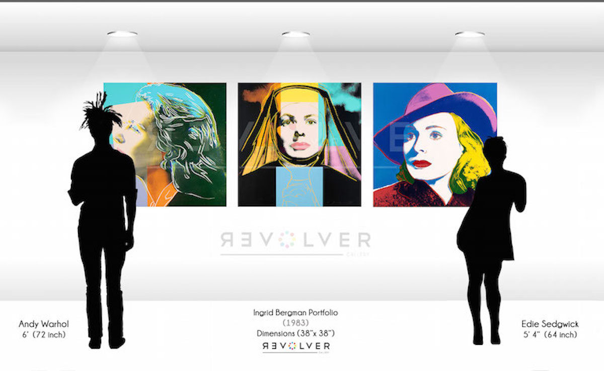 Size comparison image for the Ingrid Bergman prints, showing the size of each 28 by 38 inch print relative to silhouettes of Andy Warhol and Edie Sedgewick.