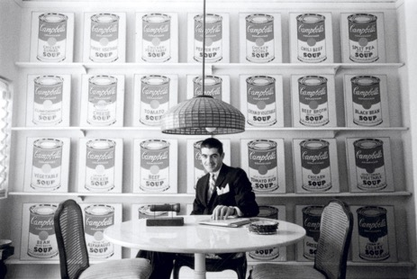 Irving Blum at home with Andy Warhol's 32 Campbell's Soup Cans in 1962. © William Claxton, Courtesy Demont Photo Management, LLC. Includes all prints from the Campbell's Soup I portfolio.