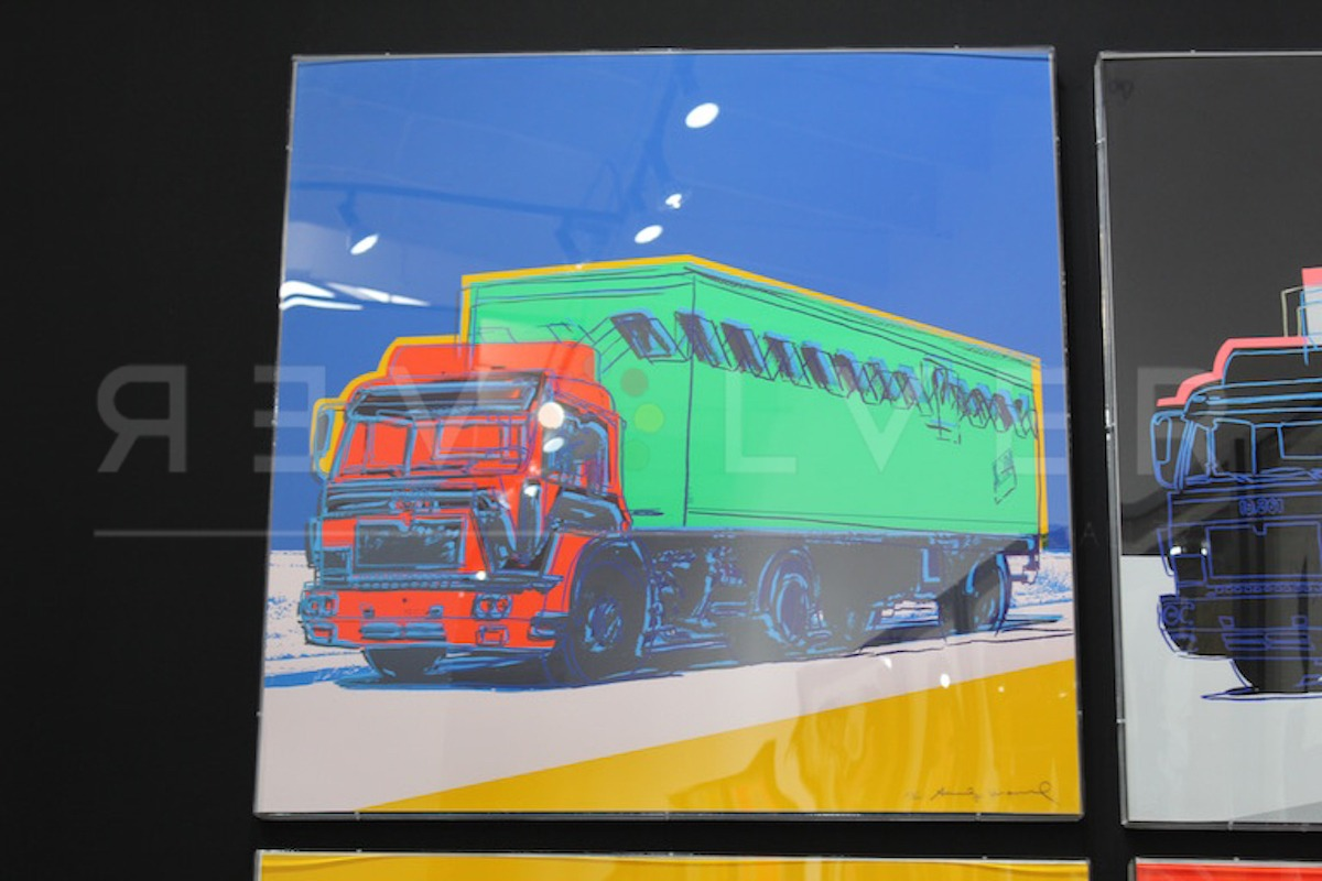 Truck 368 by Andy Warhol framed and hanging on the wall.