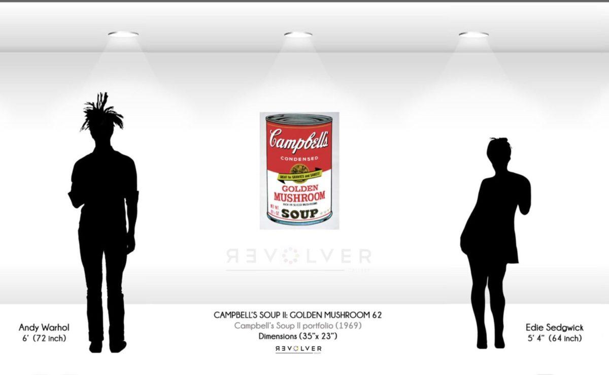Size comparison image for Campbell's Soup II: Golden Mushroom 62.