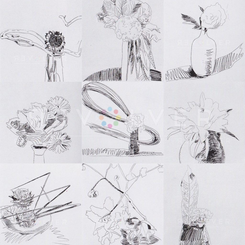 Andy Warhol Black and White Flowers complete portfolio. Grid image showing every piece from the series.