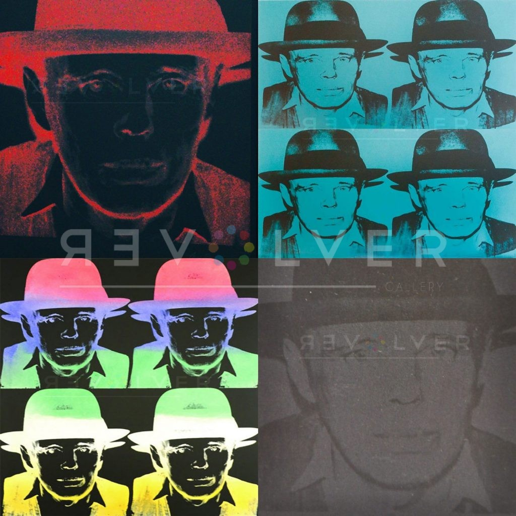 Andy Warhol Joseph Beuys complete portfolio, showing 4 prints of Joseph Beuys in a 2x2 grid, with Revolver gallery watermark.
