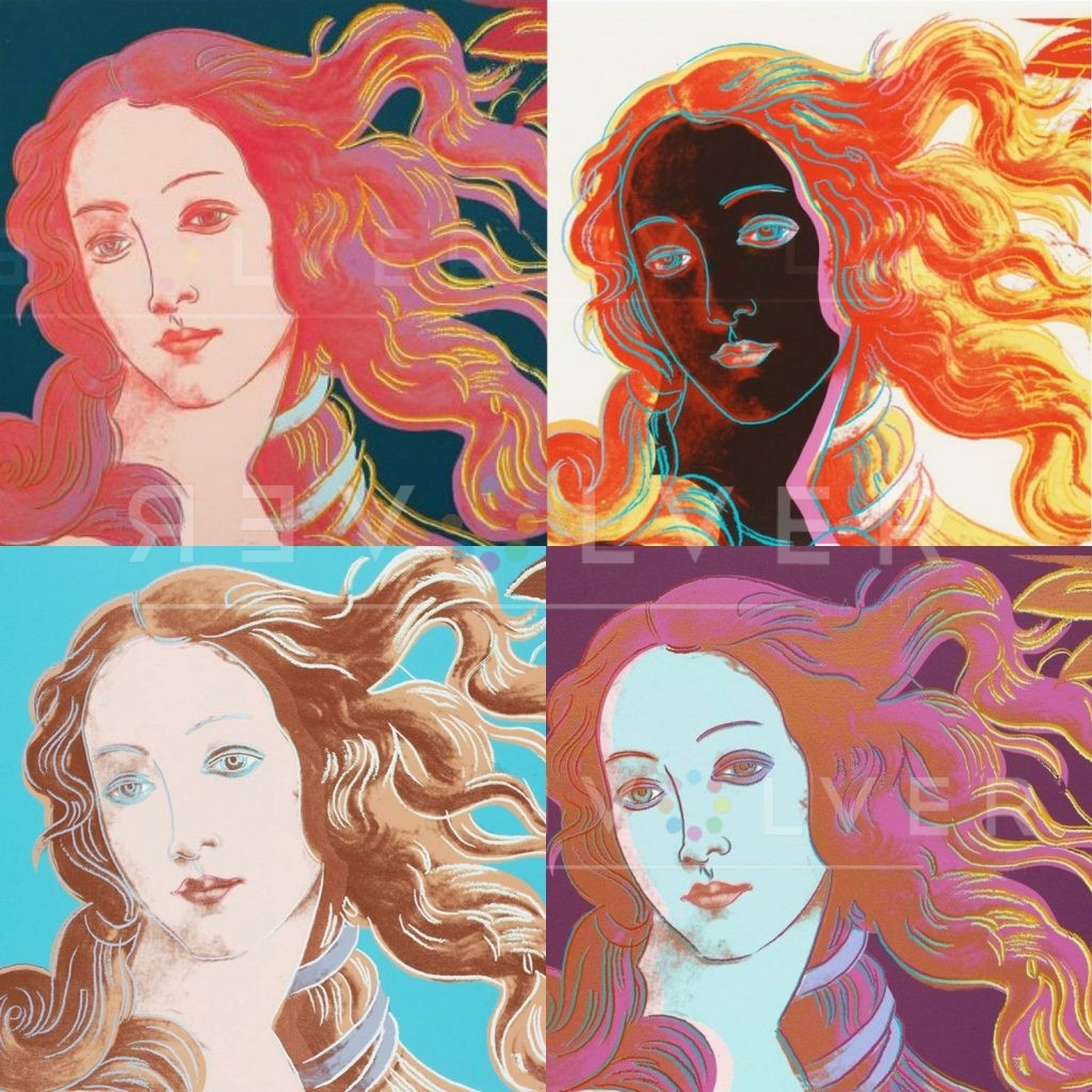 Four prints from the Andy Warhol Details of the Renaissance: Birth of Venus Complete Portfolio.