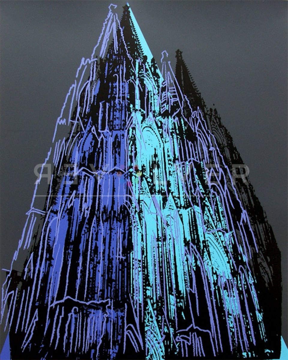 Cologne Cathedral 362 by Andy Warhol. Blue and white pop art rendition of Catholic Church.