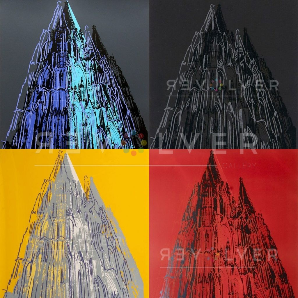 Four prints from Andy Warhol Cologne Cathedral, with Revolver gallery watermark.
