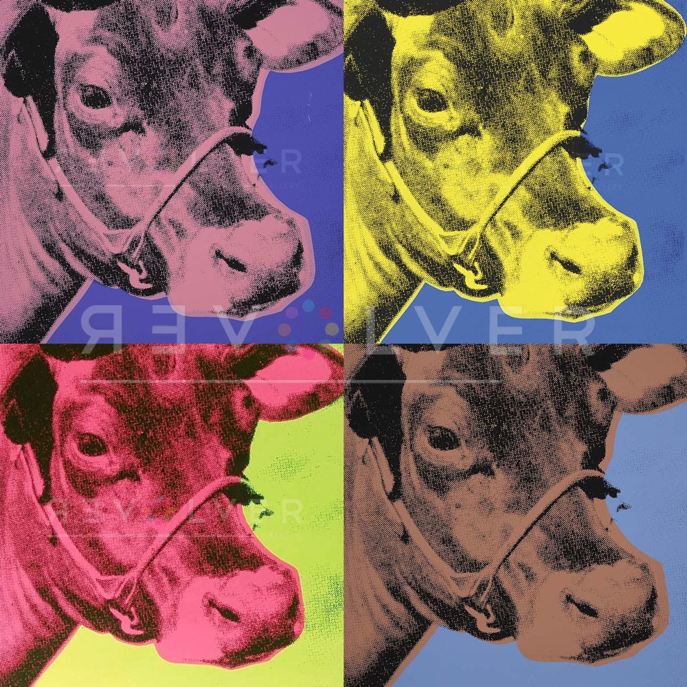 Andy Warhol cow complete portfolio, showing a 2x2 grid of Warhol's cows with the Revolver Gallery watermark.
