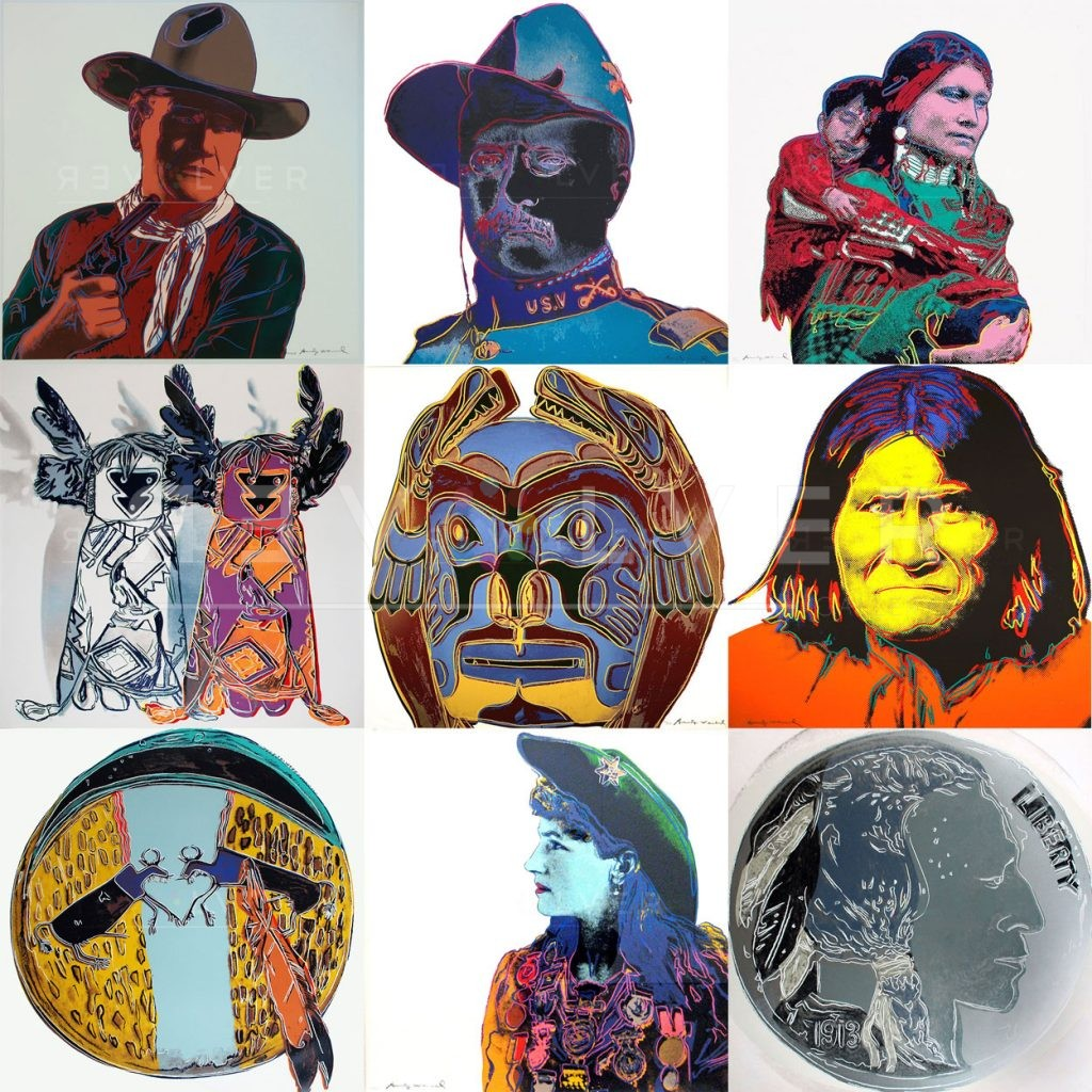 Nine prints from Andy Warhol Cowboys and Indians complete portfolio. The featured image for the portfolio on the website.
