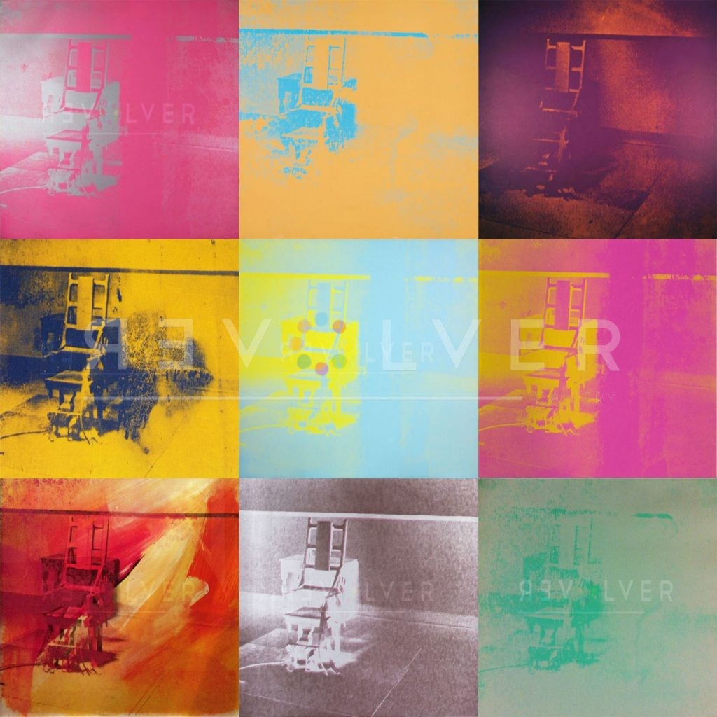 Andy Warhol Electric Chair complete portfolio. Grid image previewing nine screenprints from the series.