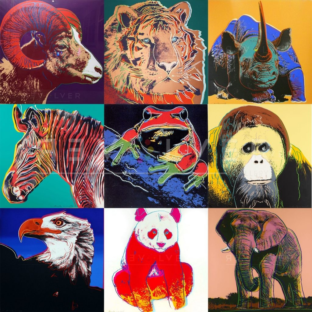 Andy Warhol Endangered Species complete portfolio. Grid image previewing nine prints from the series.