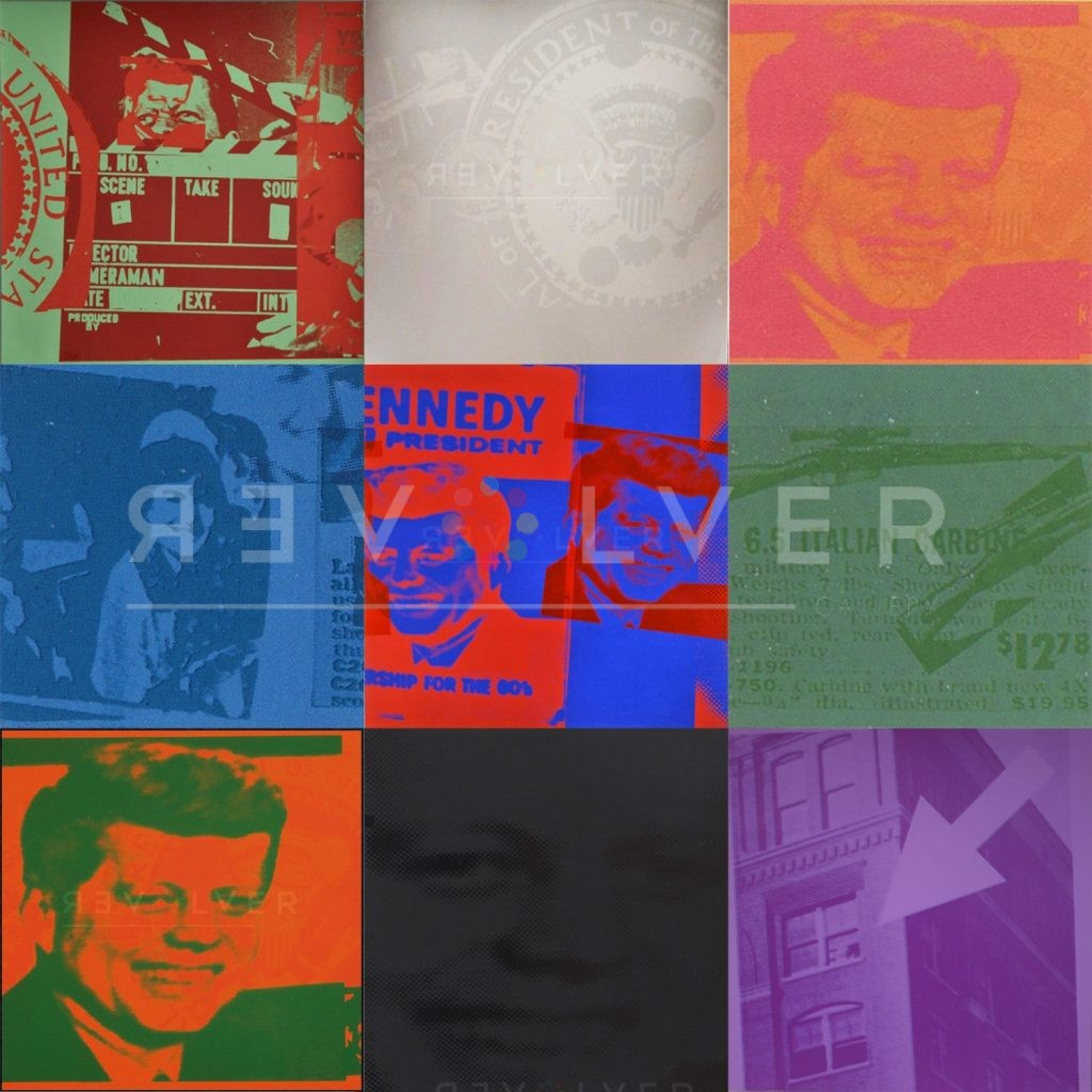 Nine prints from Andy Warhol's Flash series in a 3x3 grid previewing the full series.