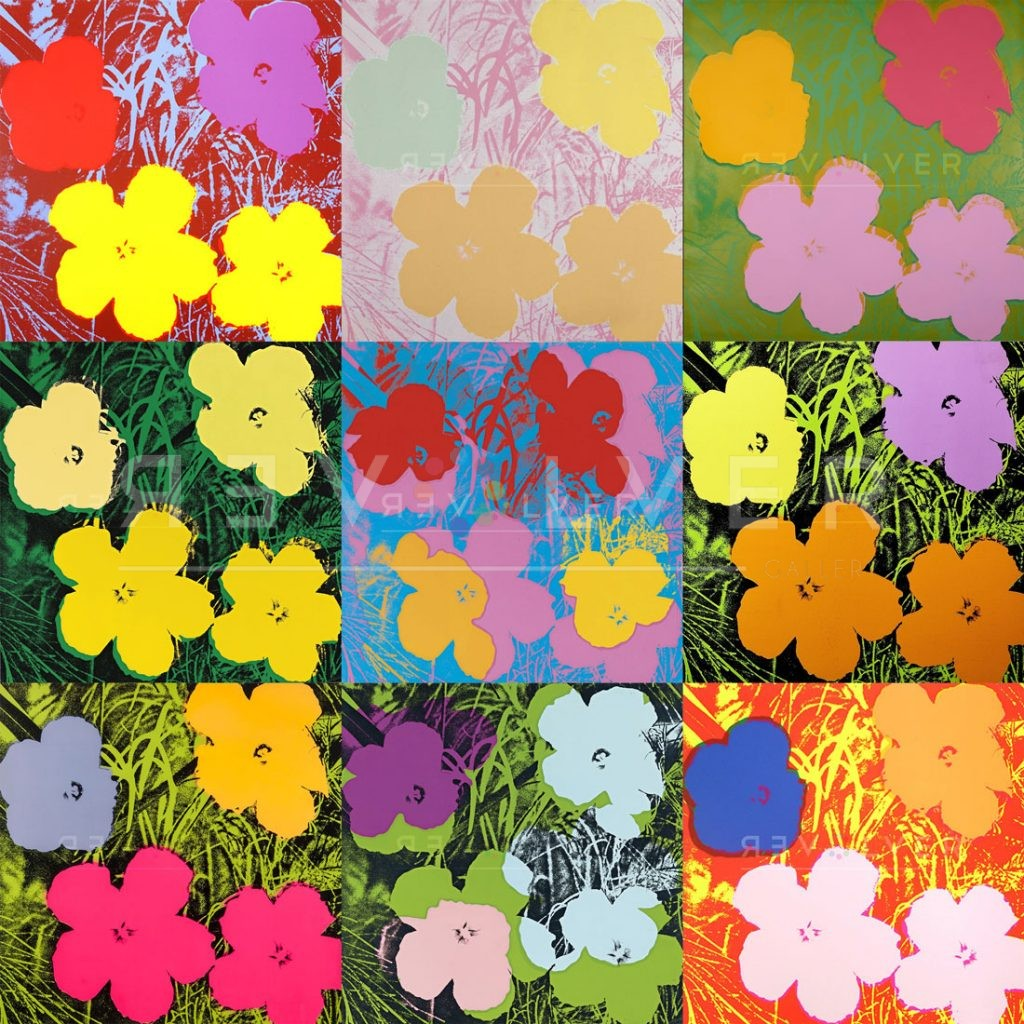 Andy Warhol Flowers complete portfolio image showing nine prints with Revolver Gallery watermark.