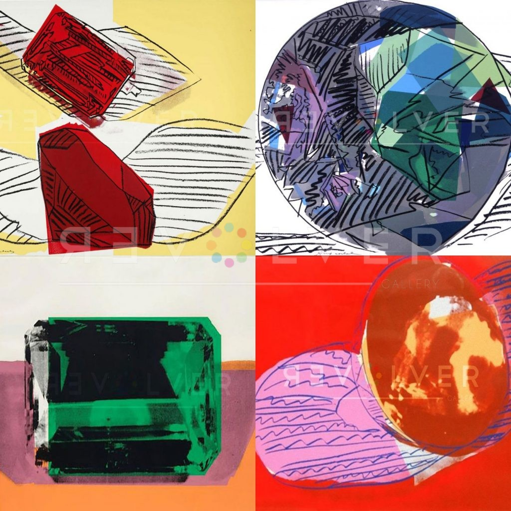 Andy Warhol Gems. Four screenprints from the Gems portfolio with the Revolver Gallery watermark.