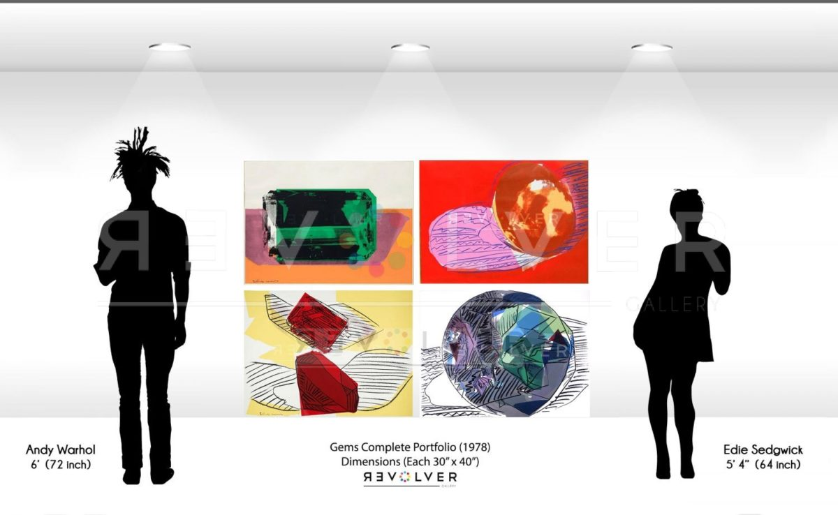 Size comparison image for Andy Warhol Gems complete portfolio.