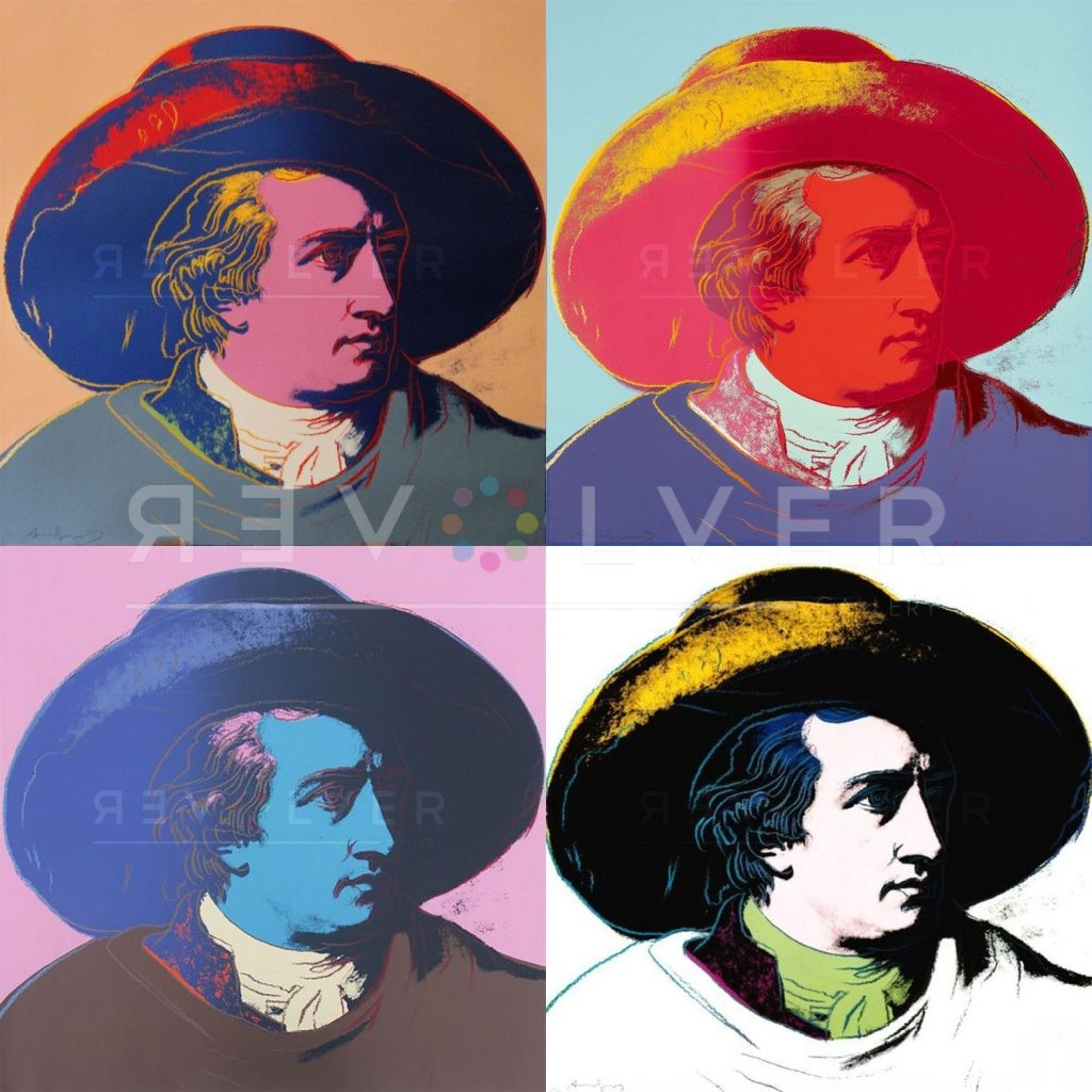 Andy Warhol Goethe complete portfolio, 2x2 grid showing four Goethe prints with the Revolver gallery watermark.