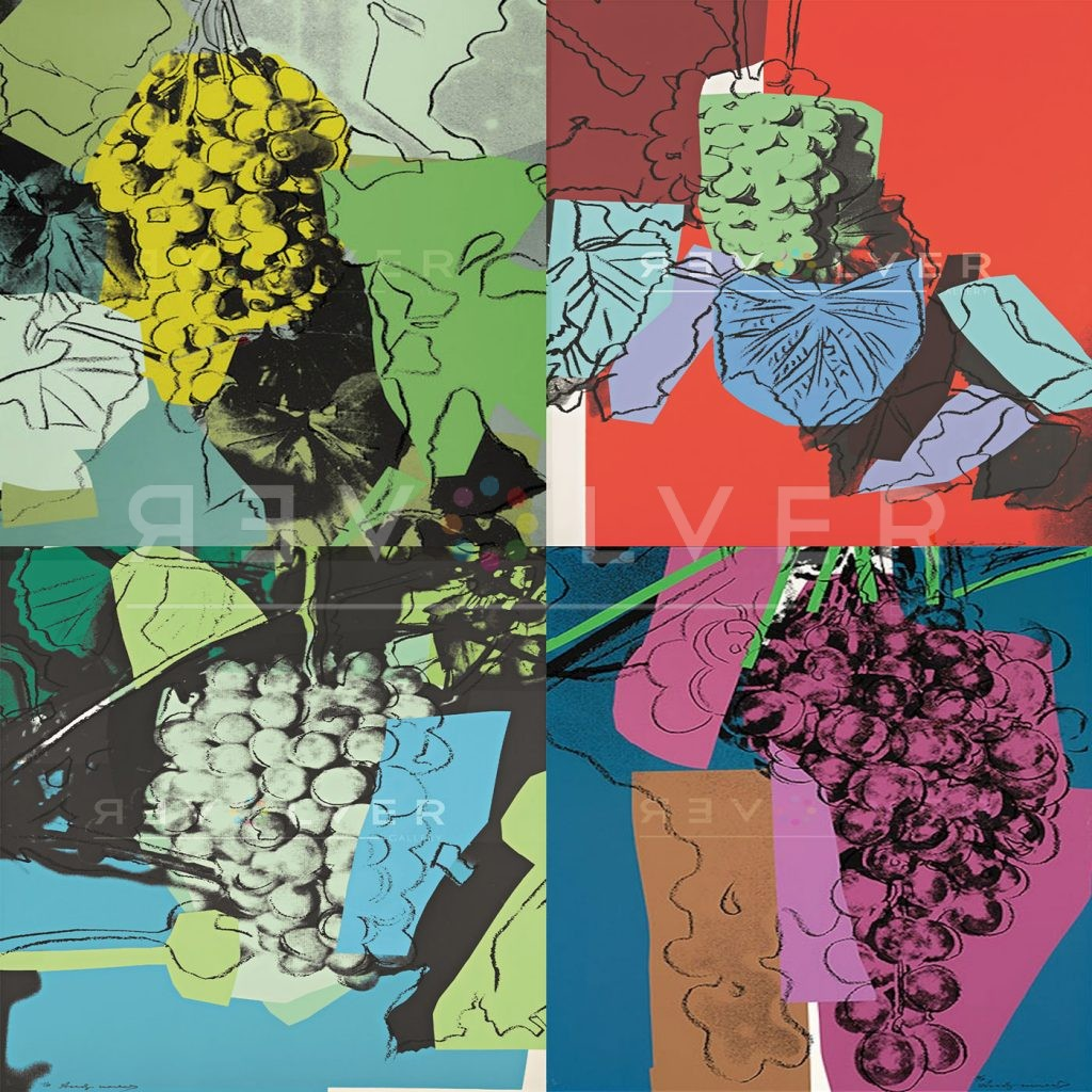 Andy Warhol grapes complete portfolio, showing 4 screenprints with Revolver Gallery watermark.